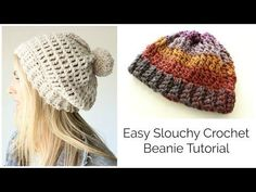 Easy Slouchy Crochet Beanie Tutorial - Treble stitch - YouTube