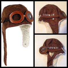 a961533e227 Aviator Hat with Goggles Baby Toddler Photo Prop by CurlyQsCounter