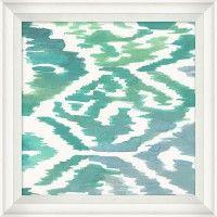ABST532: Aqua Ikat 3 20W x 20H: $125