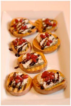 Sweet potato brushetta as a delicious finger food. #SweetPotato #HealthyAppetizers