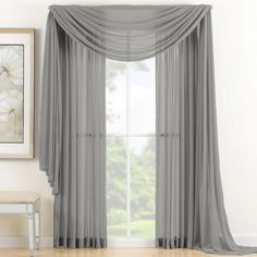 "Amazon.com - 1 X Beautiful Elegant Voile Sheer Valance Scarf 37"" X 216"" Topper Grey Silver -"
