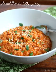 Roasted Tomato Risotto.  A delicious way to eat a whole pound of fresh tomatoes!  daringgourmet.com