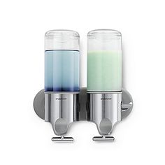 Make your shower stall or tub more convenient with this Shampoo and Soap dispenser by simplehuman®. So easy to dispense, the T-bar lever and ergonomic thumb rest on each dispenser work with your natural grip for easy use with one hand.