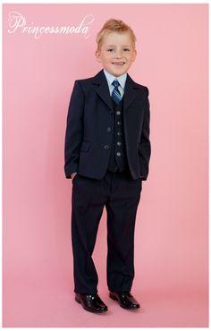 Nr.11 Für Ihre Festlichkeit! Eleganter, dunkelblauer Anzug! Blaues Hemd! - Princessmoda - Alles für Taufe Kommunion und festliche Anlässe