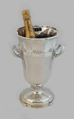 STERLING SILVER ART DECO CHAMPAGNE / WINE COOLER, 1920s  Original French Antique / Vintage Art Deco Sterling Silver Champagne / Wine Cooler dating from the 1920s, Christofle / Puiforcat Quality and Crafstmanship - THE ROARING 20s !!
