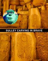Sulley carving in Brave-Pixar secrets