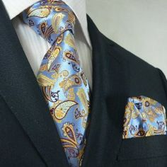 Landisun Blue Yellow Brown Paisley Men Silk Tie Set: Tie+Hanky - a little to much I would separate the two. But he has style! Best Mens Ties, Mens Silk Ties, Suit Up, Suit And Tie, Sharp Dressed Man, Well Dressed Men, Tie And Pocket Square, Pocket Squares, Mens Attire