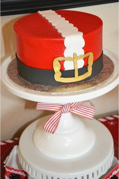 Santa cake at a Christmas party!  See more party ideas at CatchMyParty.com!  #partyideas  #christmas