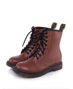 Brown Lace Up Flat Boots with Nap Lining and Pull Tag