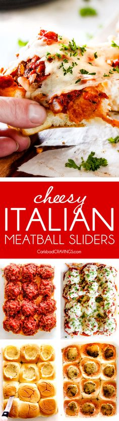 These Cheesy Italian Meatball Sliders are my favorite party food ever and my family loves them for dinner! The meatballs are the BEST (so tender and juicy!) and the marinara is amazing and I love how they are individual sliders instead of meatball subs! I can't recommend these enough! via @carlsbadcraving