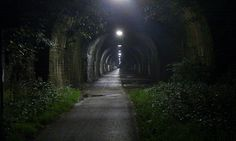 Staple Hill Tunnel at night, 2014. Part of the Bristol to Bath Cycle Path, previously the Midland Railway and before that, The Coalpit Heath Railway.