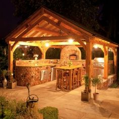 Kitchen : 33 Exquisite Outdoor Summer Kitchen Ideas That Will Amaze You - Romantic Outdoor Kitchens Ideas In Wooden Gazebo At Night With Lov...