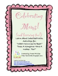 This 10 page unit is great for the week before Mother's Day!  It includes activities that go along with