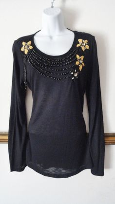 Anthropologie Single Black Beaded Vintage Top Shirt Blouse Evening Medium M #SINGLE #Blouse
