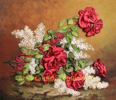Gallery.ru / Фото #43 - мои работы 2 - Aleksandriya1968 Ribbon Work, Ribbon Embroidery, Sewing Crafts, Floral Wreath, Wreaths, Painting, Decor, Silk Ribbon Embroidery, Embroidered Bag