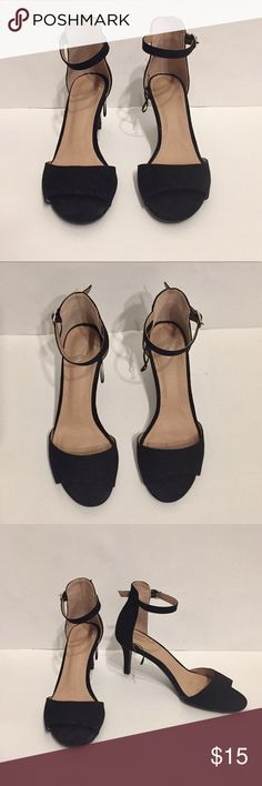 H&M Black Suede Peep Toe Heels H&M Black Suede Peep Toe Heels, size 7, heel height 3 inches, worn twice, not too tall/very comfortable to walk in H&M Shoes Heels