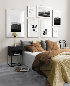 Cozy Gallery Wall Decor Ideas For Bedroom - People invest a lot of time and money in decorating the living room, dining hall, and other frequently visited places of their home. Bedroom Wall Decor Above Bed, Gallery Wall Bedroom, Bedroom Photos, Bed Wall, Bedroom Decor, Gallery Walls, Bedroom Pictures Above Bed, Pictures Over Bed, Master Bedroom