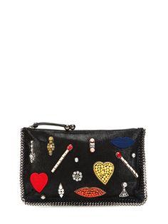 Fallabella Embroidery Microsuede Clutch from Stella McCartney