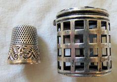 Gold Banded Sterling Silver Thimble In Basketweave Case Holder Vtg Old Antique