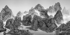 From The New World, an extremely detailed digital photo collage by Chinese artist Yang Yongliang. Yang Yongliang was born in Shanghai in Quite early City Photography, Digital Photography, Landscape Photography, Shanghai, Modern Art Museum Paris, Chinese Mountains, Landscape Arquitecture, Asian Art Museum, Chinese Landscape