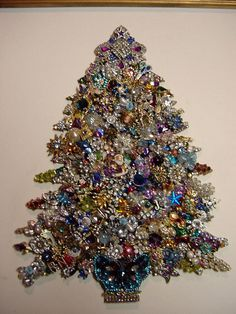 Vintage RHINESTONE JEWELRY Framed CHRISTMAS TREE ART Santa, Angel Purples Blues in Other | eBay