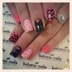 Valentine Nails - One of my favorites ( chevron & heart print / black & 2 different shades of pink)