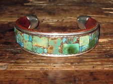 Turquoise Tapered Mosaic Cuff Bracelet by Charlie Favour - Medium