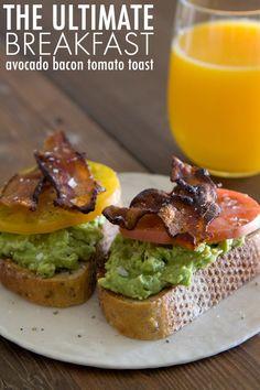 Avocado Bacon Tomato Toast from www.whatsgabycooking.com