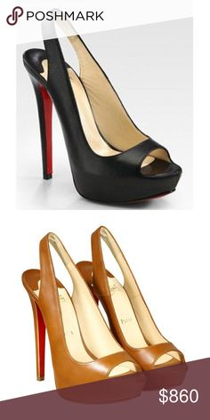 """🎉Host Pick!!🎉 Christian Louboutin Peep-Toe ❤️ Christian Louboutin Black Cheyenne Leather Peep-Toe Slingback Platform Sandals. Sold out @SAKSFIFTHAVENUE, Smooth leather platform design with a stretchy slingback, peep toe and ultra-high heel 5"""" (125mm) Covered platform, 1"""" (25mm). Leather lining with Signature red leather sole. Padded insole. Made in Italy. This style runs small. These are too small for me. I wore these twice. I'm a size 8 1/2. Beautiful shoe!! Comes with box and dust bag…"""