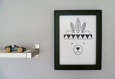 Poster Indianer Bär von Foxella & Friends auf DaWanda.com