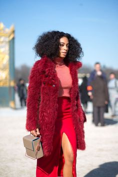 Brights In Street Style. Solange Knowles is red hot at Paris Fashion Week Fall 2015