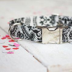Wedding Dog Collar  Valentines Day Black and White by ZaleyDesigns, $25.00