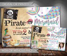 Pirate or Mermaid Invitation, Pirate or Mermaid Birthday Invitation, Mermaid Invitation, Pirate Invitation, Digital File or Printed #675 by PerfectPrintableCo on Etsy