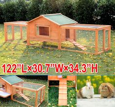 Deluxe Large Wooden Rabbit Hutch Chicken Coop Pen House Pet Habitat Double Run