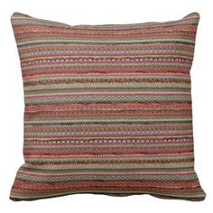 Western Leather and Indian Print 160 Throw Pillow