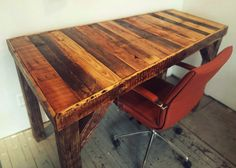 Fringe Focus - How to make a pallet desk. This is almost exactly what I'm thinking, only use galvanized pipes for the legs instead of 2x4's.