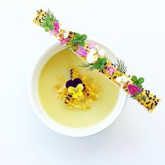 Corn soup by Tag your best plating pictures with to . Corn soup by Tag your best plating pictures with to get featured. Food Design, Food Plating Techniques, Corn Soup, Food Decoration, Culinary Arts, Creative Food, Food Presentation, Food Styling, Food Inspiration