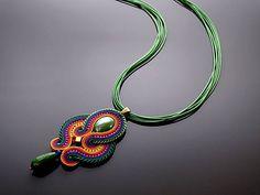 Colored Soutache necklace with Jadeite.