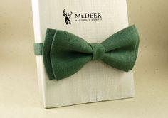 Dark Green Linen  Bow Tie - Ready Tied Bow Tie - Adult Bow Tie - Mens bowtie - Groomsman, Rustic Wedding Bow Tie - Gift for Him - Mr.DEER by MrDEERbowtie on Etsy