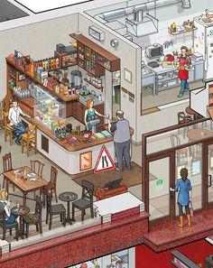 The interior of the Art Lebedev studio's Store and Big Café on Bankovsky pereulok