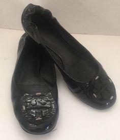 Tory Burch Reva Black Patent Leather Ballet Flats SZ 9 Ballerina Slip On #ToryBurch #BalletFlats