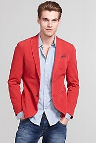 The Tommy Hilfiger Cotton Garment Dyed Blazer in Red is ILL