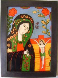 Icoane romanesti pictate pe sticla in tehnica traditionala Religious Icons, Religious Art, Christian Paintings, Orthodox Icons, Sacred Art, Christmas Images, History Facts, Frame, Glass