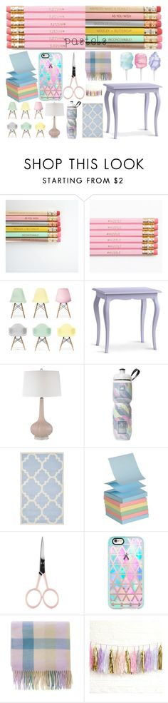 """""""pastel office (contest)"""" by giovihoran05 ❤ liked on Polyvore featuring interior, interiors, interior design, home, home decor, interior decorating, Ciel, Redford House, Victoria's Secret and Safavieh"""