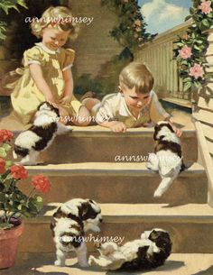 """Child's Room Art, RESTORED Antique Art, """"Puppies Puppies Everywhere"""", Sister, Brother, Puppies, Affordable Wall Art #270"""