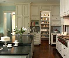 Traditional Island Style Teal kitchen, cream cabinets, Rabaut Design Associates, Inc., Atlanta