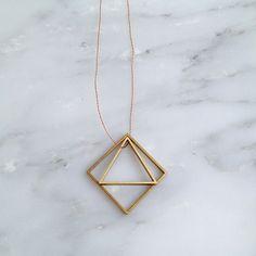 brass geo necklace
