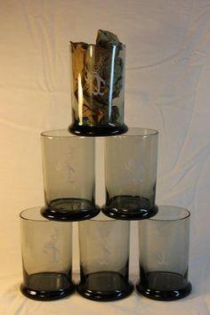 Set 6 Vtg. Star-Kist Sorry Charlie Tuna Smoke Gray Rocks Glasses Cups Highball 2