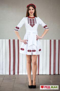 "Вишита біла сукня з кишеньками та двома поясами ""Писанка"" Afghan Clothes, Afghan Dresses, I Dress, Peplum Dress, Party Dress, Morrocan Dress, Sexy Dresses, Fashion Dresses, Dress Drawing"