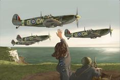 """Supermarine """"Spitfires""""_Départ en mission au-dessus de la Manche."""